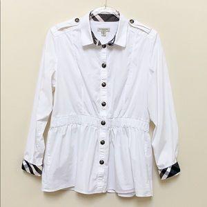 Burberry London White Button Down Plaid Cuffs 14